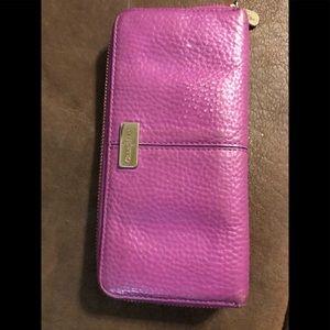 Cole Haan accordion purple wallet